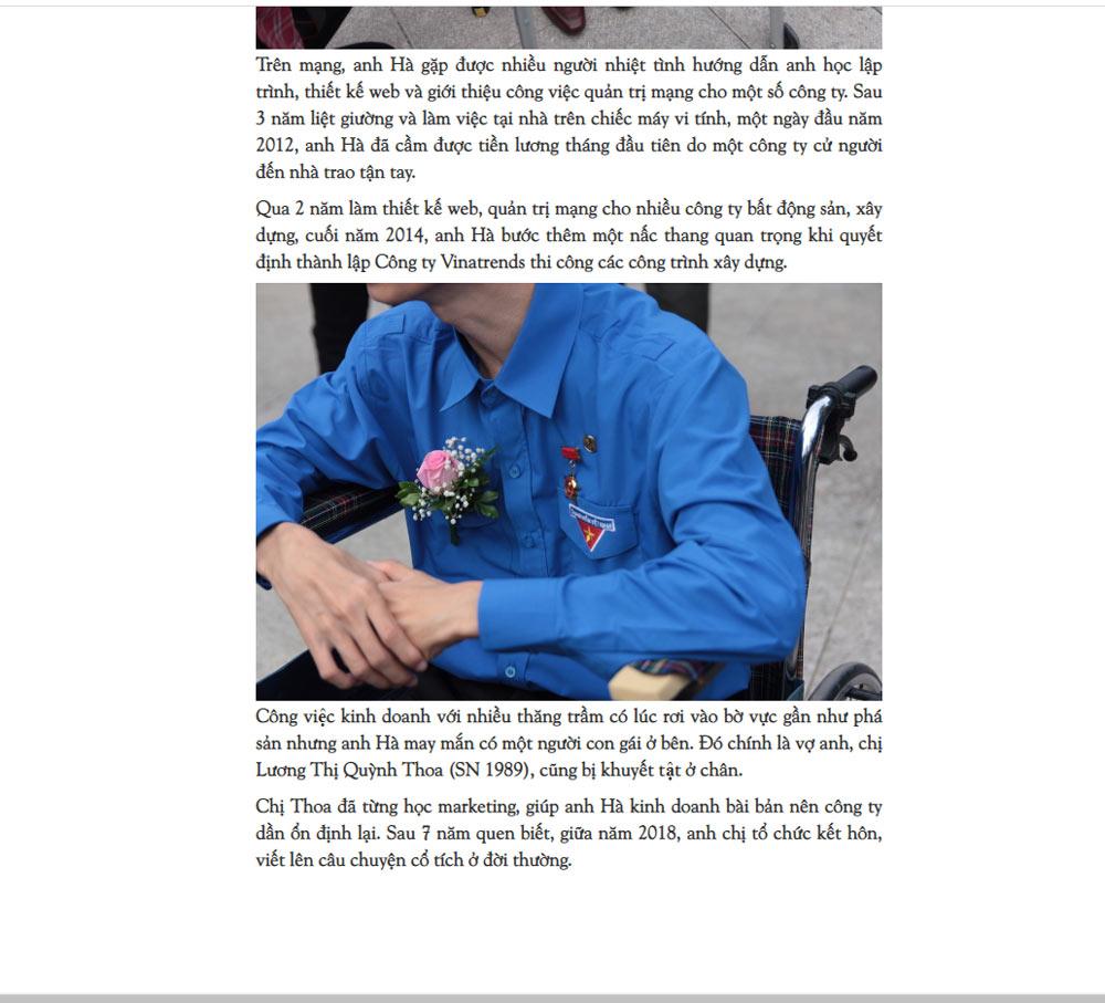 nghi luc giam doc ngoi xe lan 4 Nghị lực của giám đốc ngồi xe lăn viết nên câu chuyện cổ tích trở thành điển hình làm theo lời Bác Nguồn báo Người Đưa Tin