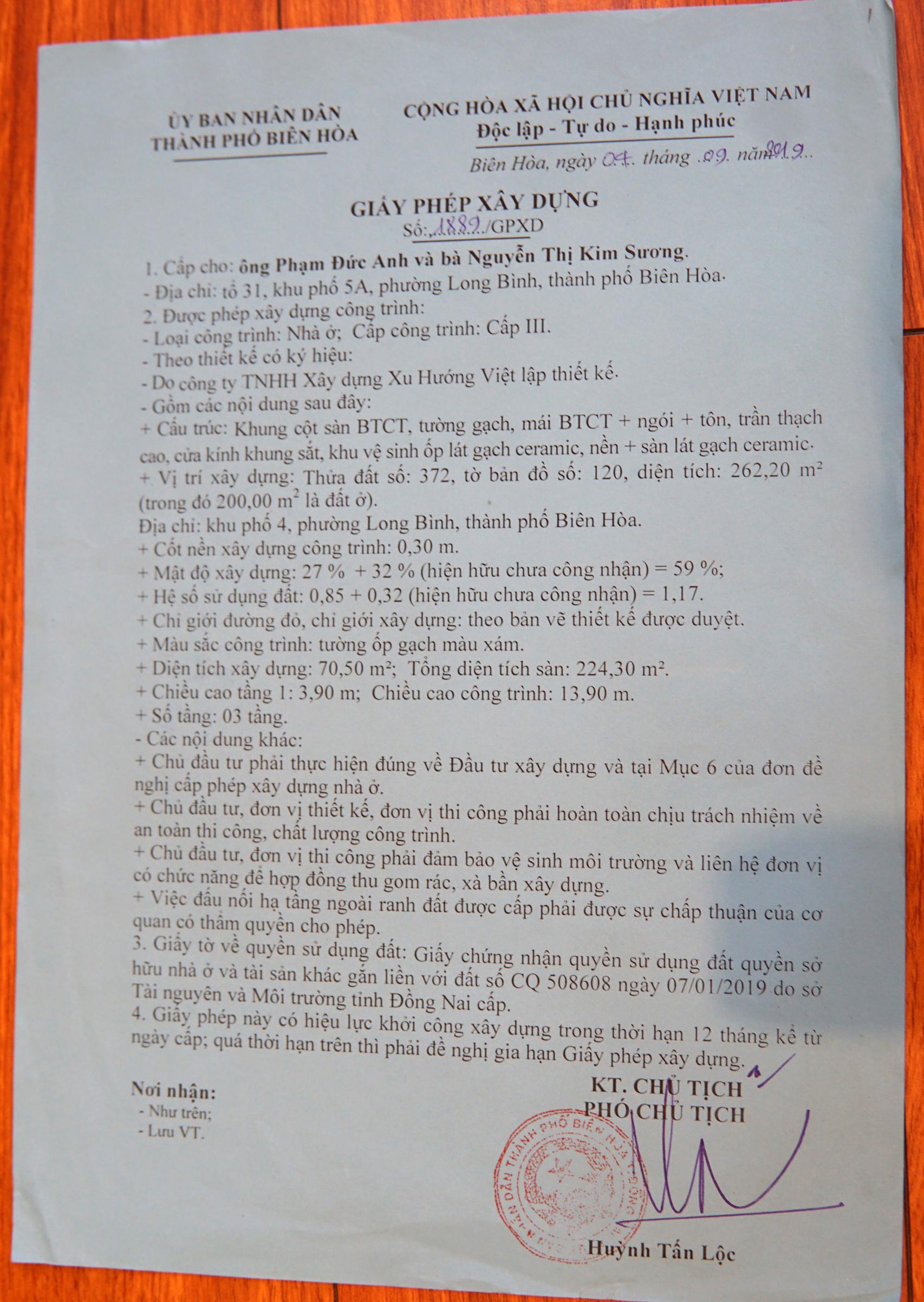 giay xin phep xay dung o bien hoa dong nai Cách Xin Phép Xây Dựng ở Biên Hòa Đồng Nai đi 1 lần đã có giấy hẹn màu xanh