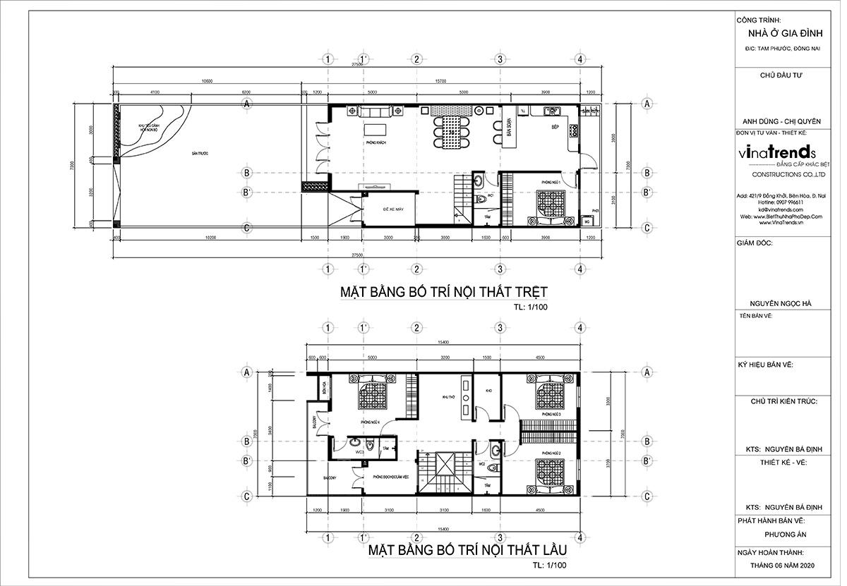 mat bang mau nha 2 tang dep Mẫu nhà 2 tầng đơn giản 7x16m có sân trước rộng sân sau thoáng của anh Dũng ở Long Thành