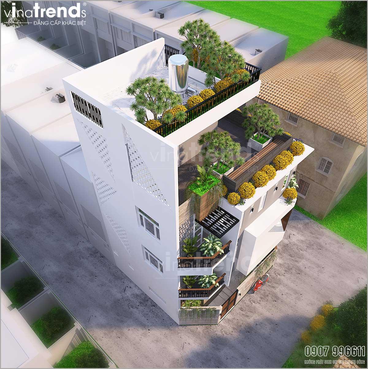 mau biet thu hien dai 4 tang co san thuong cay xanh duoi 100m2 o sai gon Mẫu nhà biệt thự hiện đại 3 mặt tiền 4 tầng có sân thượng diện tích 9,6x9,5m ở Quận 2 Sài Gòn