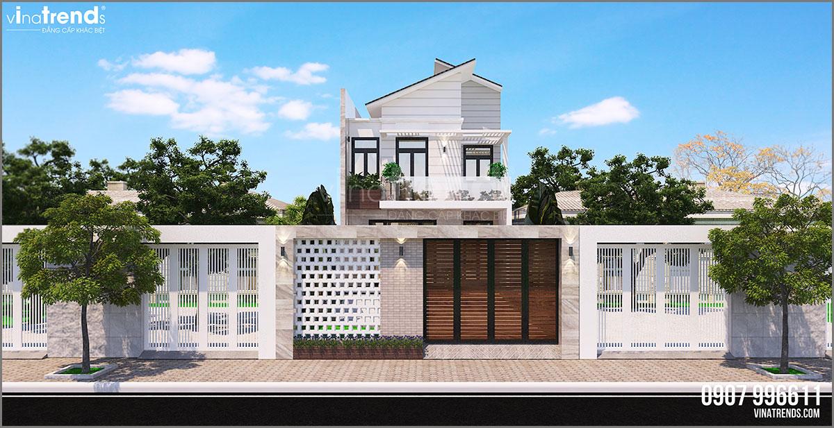 mau nha 2 tang hien dai dep mat tien 7m Mẫu nhà biệt thự 2 tầng mái thái 8x18m có sân vườn rộng 270m2 như cổ tích ở Bình Phước