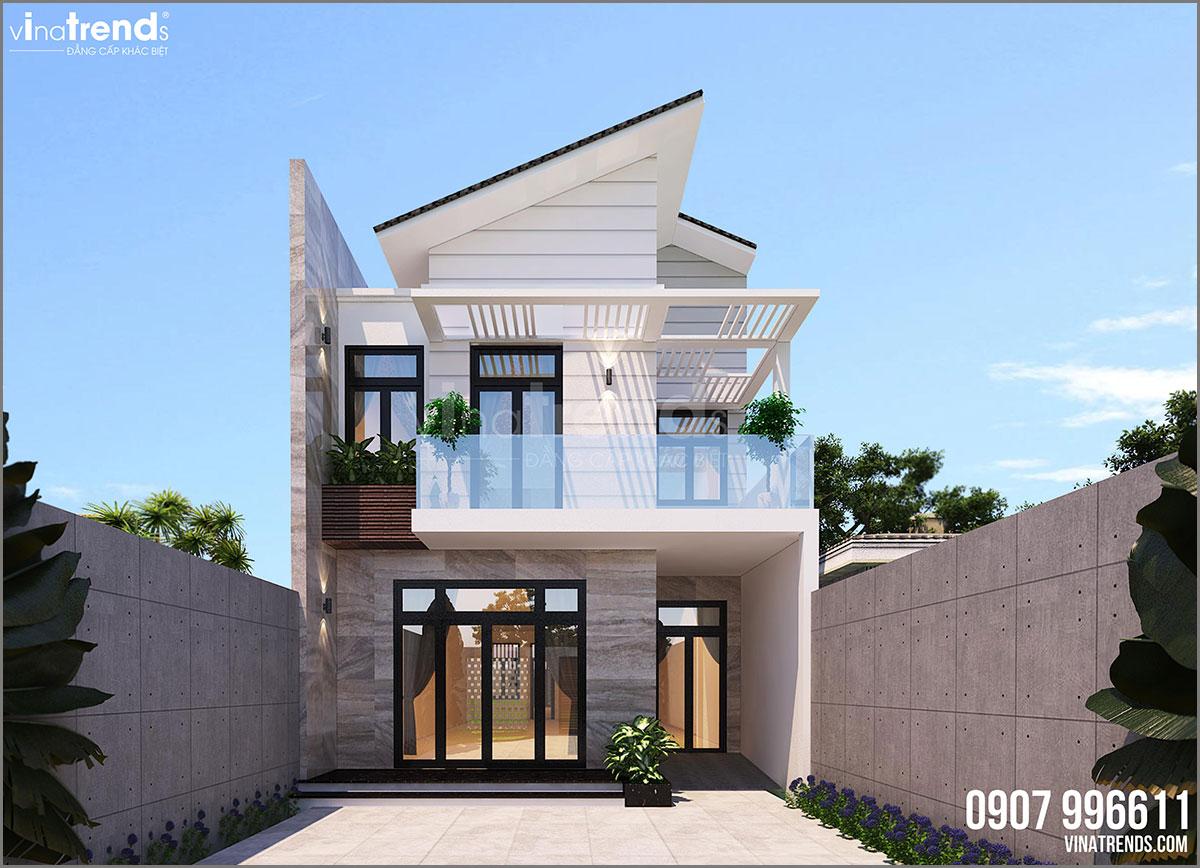 mau nha 2 tang hien dai dep Mẫu nhà biệt thự hiện đại 3 mặt tiền 4 tầng có sân thượng diện tích 9,6x9,5m ở Quận 2 Sài Gòn