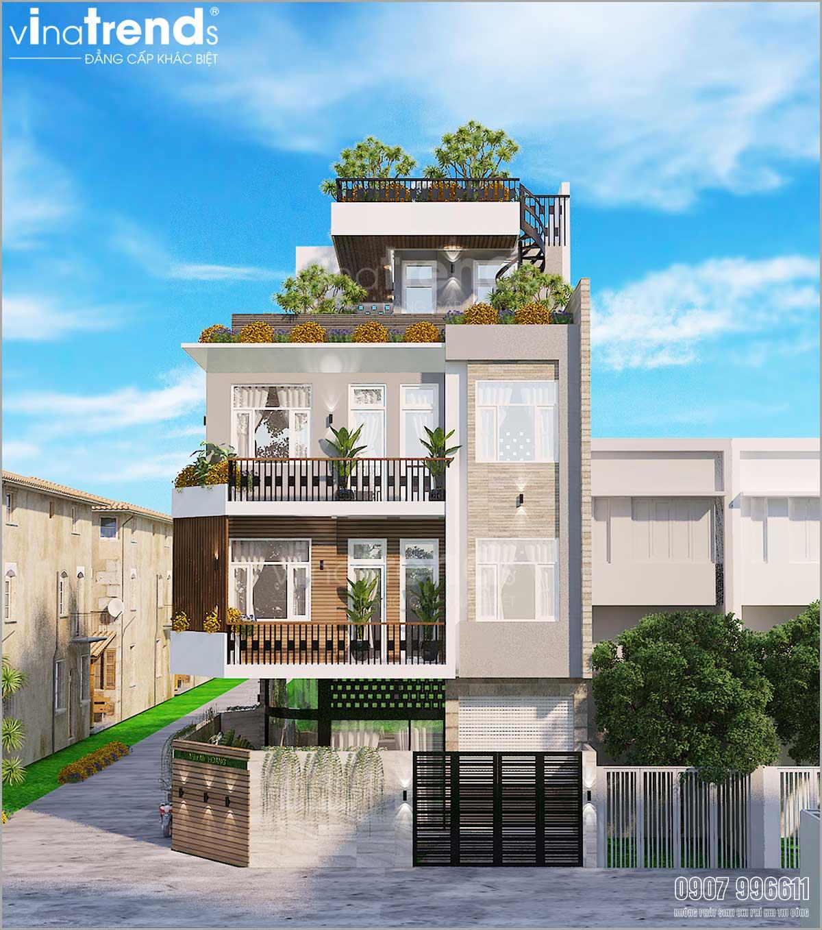 mau nha 4 tang co san thuong hien dai co 3 mat tien o hcm Mẫu nhà biệt thự hiện đại 3 mặt tiền 4 tầng có sân thượng diện tích 9,6x9,5m ở Quận 2 Sài Gòn