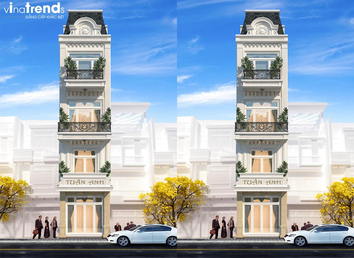 mau nha 5 tang co dien mat tien 4m Mẫu nhà ống 4 tầng tân cổ điển 5x15m bố trí thông minh của đa số khách Sài Gòn chọn