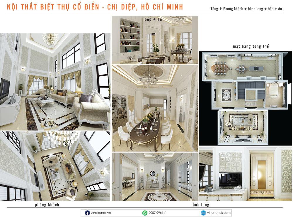 1. thiet ke noi that biet thu tan co dien chi diep hcm 1 Mẫu thiết kế nội thất nhà phố, biệt thự, công trình khác [catalogue 2020]