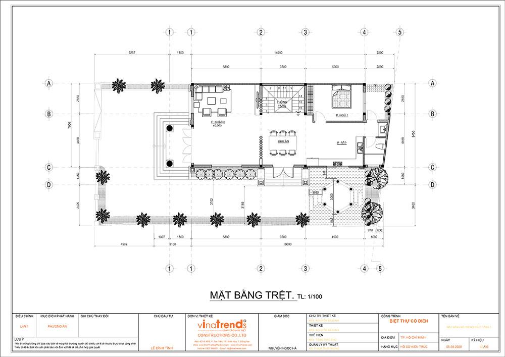 mat bang cong nang mau biet thu mai thai 3 tang 1 Mẫu nhà biệt thự cổ điển mái thái 3 tầng 7mx17,6m mọi không gian hút gió & ánh sáng tính toán tài tình