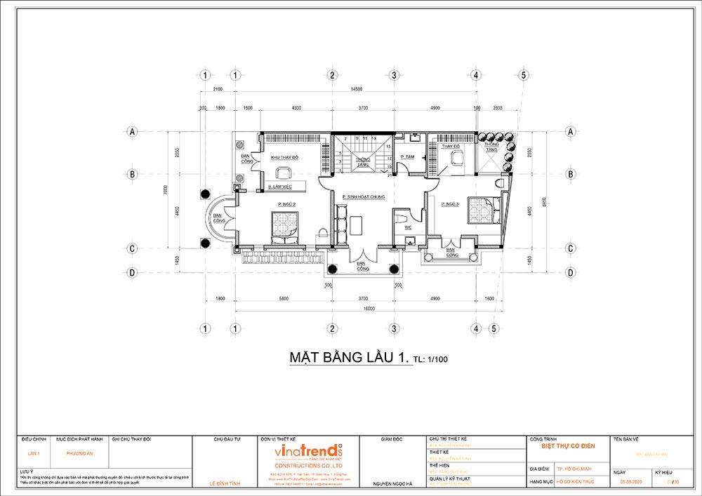 mat bang cong nang mau biet thu mai thai 3 tang 2 Mẫu nhà biệt thự cổ điển mái thái 3 tầng 7mx17,6m mọi không gian hút gió & ánh sáng tính toán tài tình
