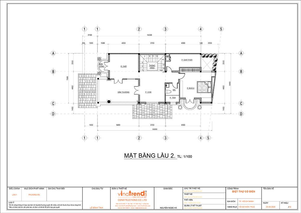 mat bang cong nang mau biet thu mai thai 3 tang 3 Mẫu nhà biệt thự cổ điển mái thái 3 tầng 7mx17,6m mọi không gian hút gió & ánh sáng tính toán tài tình