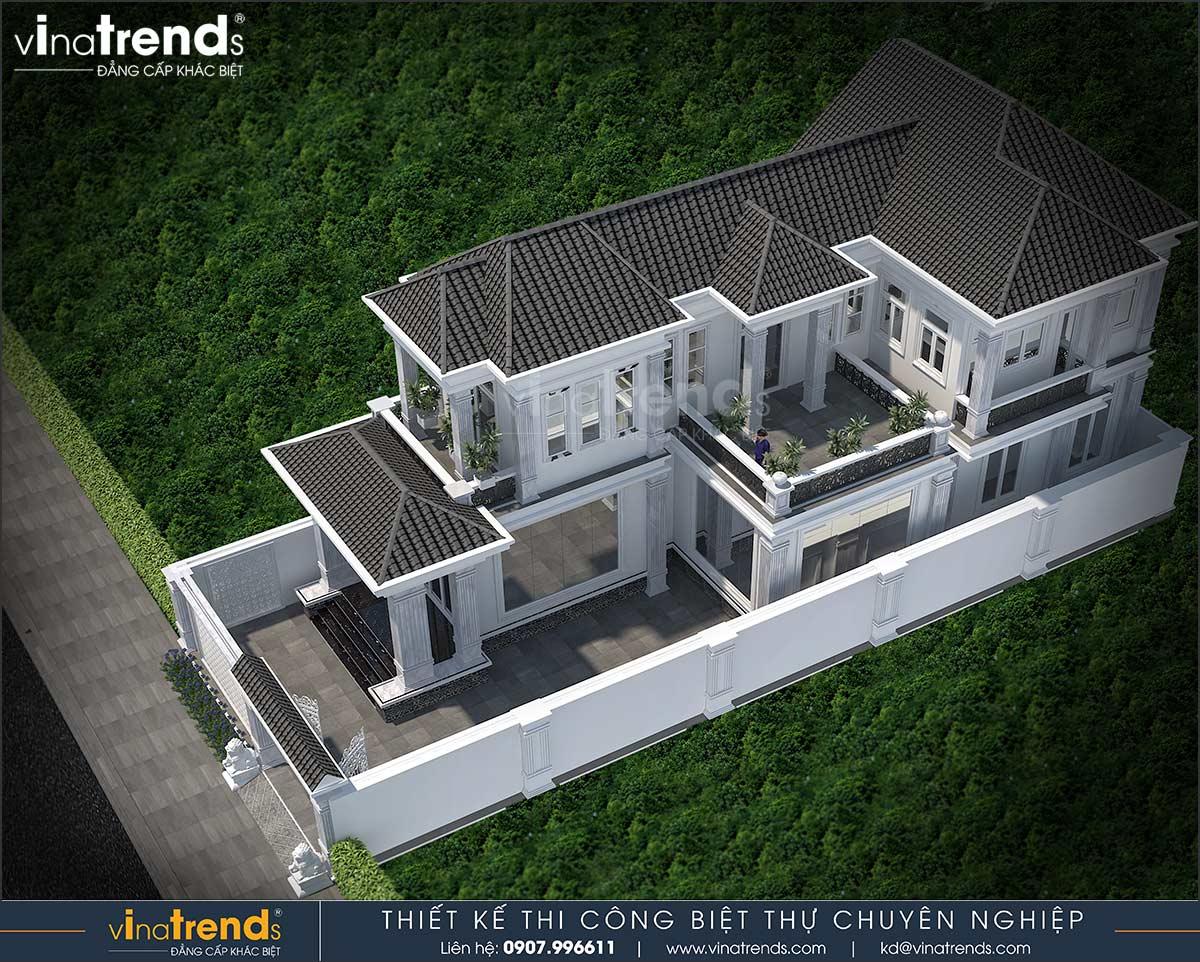 mau biet thu dep 2 tang don gian co san vuon Mẫu nhà vườn biệt thự 2 tầng đơn giản 10x20,8m có 4 phòng ngủ ở Phan Thiết
