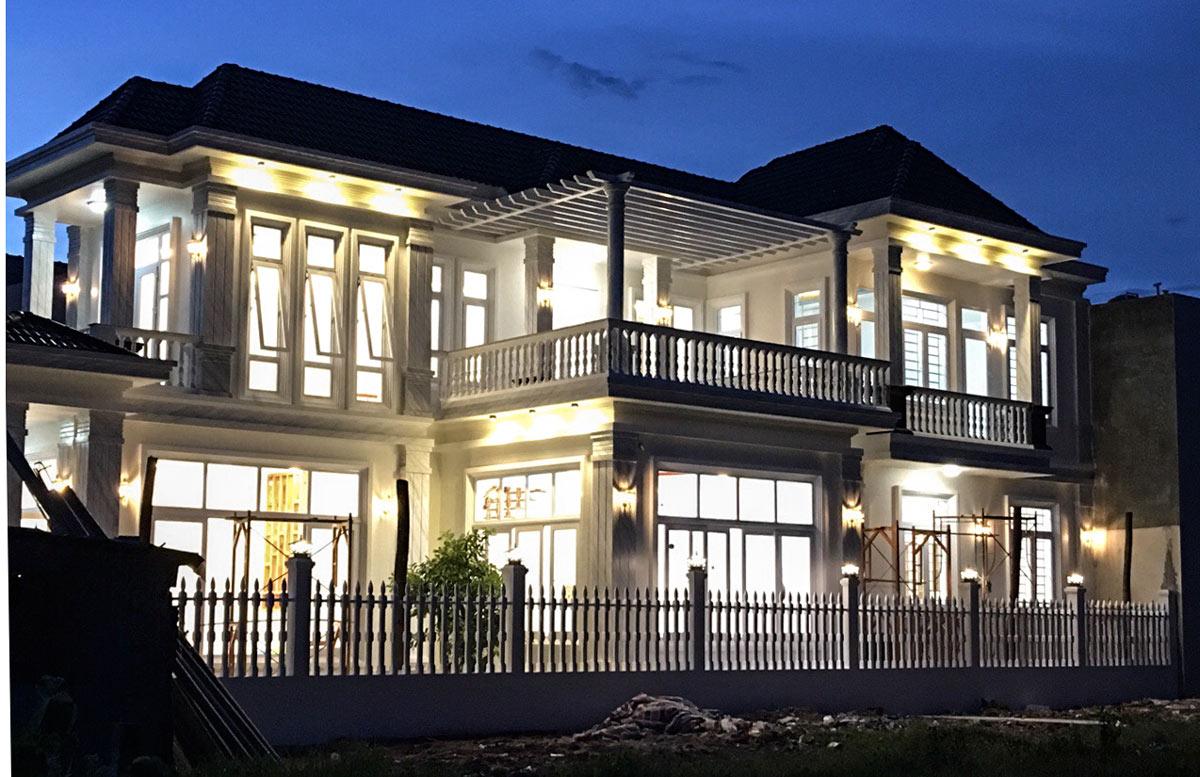 mau nha 2 tang dep Mẫu nhà vườn biệt thự 2 tầng đơn giản 10x20,8m có 4 phòng ngủ ở Phan Thiết