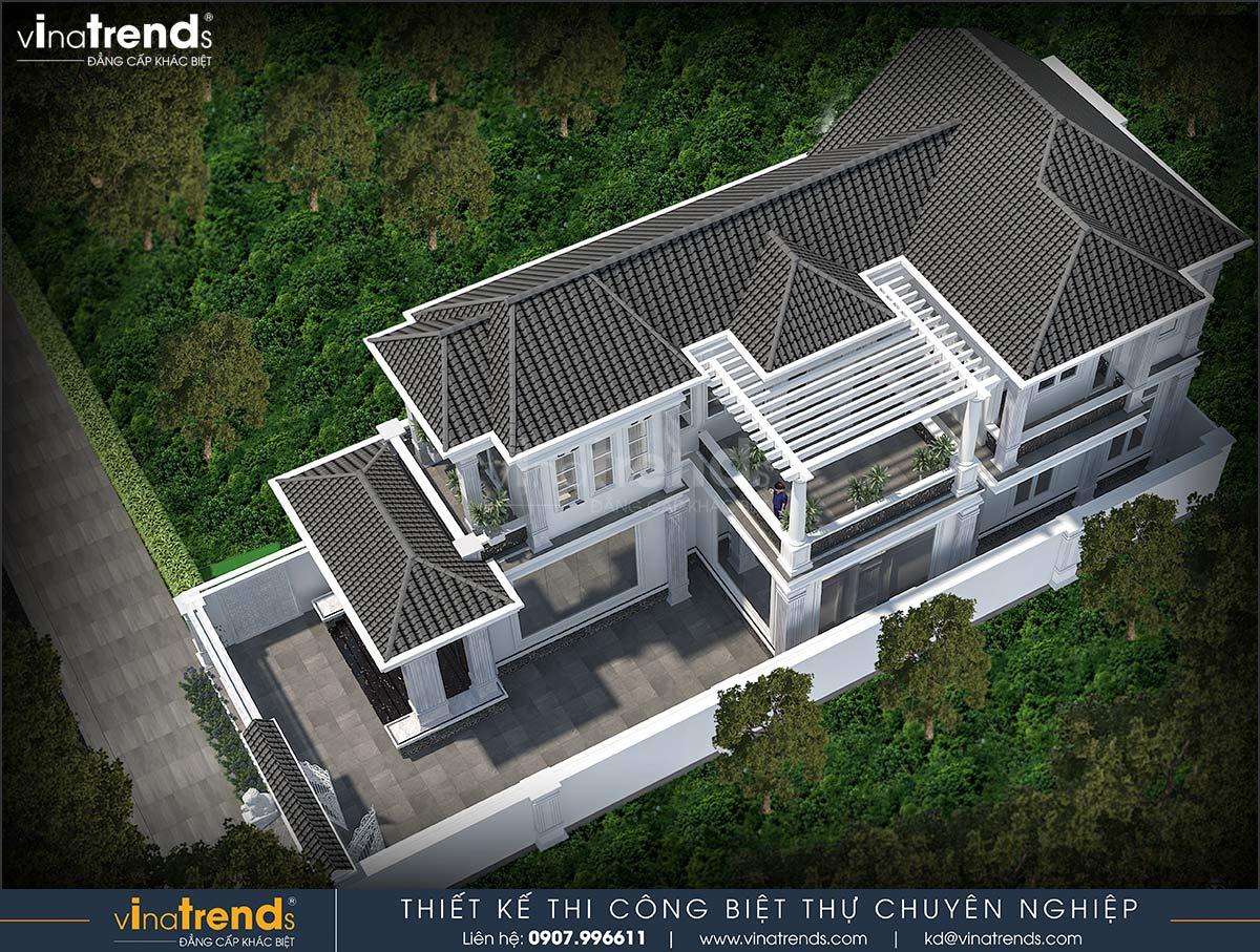 mau nha biet thu 2 tang co san vuon Mẫu nhà vườn biệt thự 2 tầng đơn giản 10x20,8m có 4 phòng ngủ ở Phan Thiết