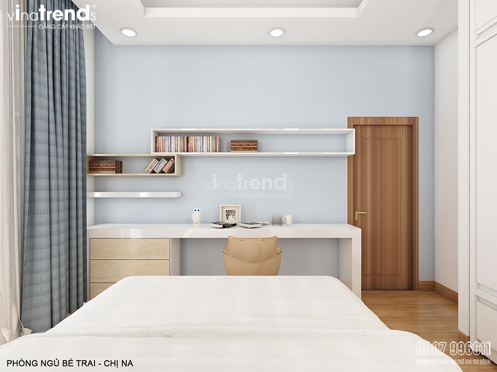 noi that phong ngu con trai mau xanh dep vinatrends Thiết kế nội thất gỗ công nghiệp hiện đại cho mẫu biệt thự 2 tầng ở Phan Thiết