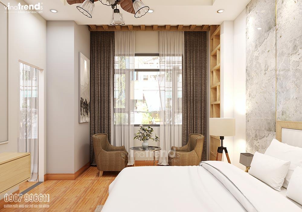 noi that phong ngu go cong nghiep 1 1 Mẫu nhà biệt thự 3 tầng 8,8x10m đẹp nhất khu Thạnh Phú Đồng Nai