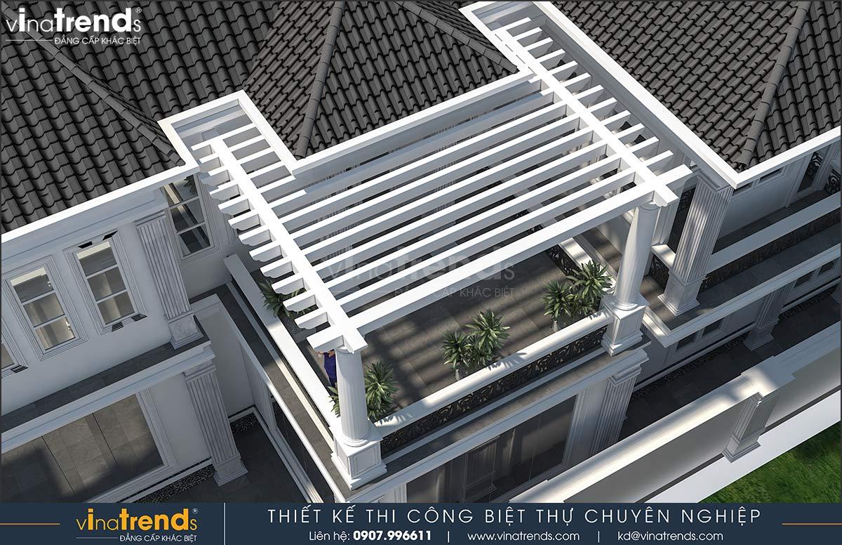 thiet ke ban cong mau nha biet thu 2 tang dep 1 Mẫu nhà vườn biệt thự 2 tầng đơn giản 10x20,8m có 4 phòng ngủ ở Phan Thiết