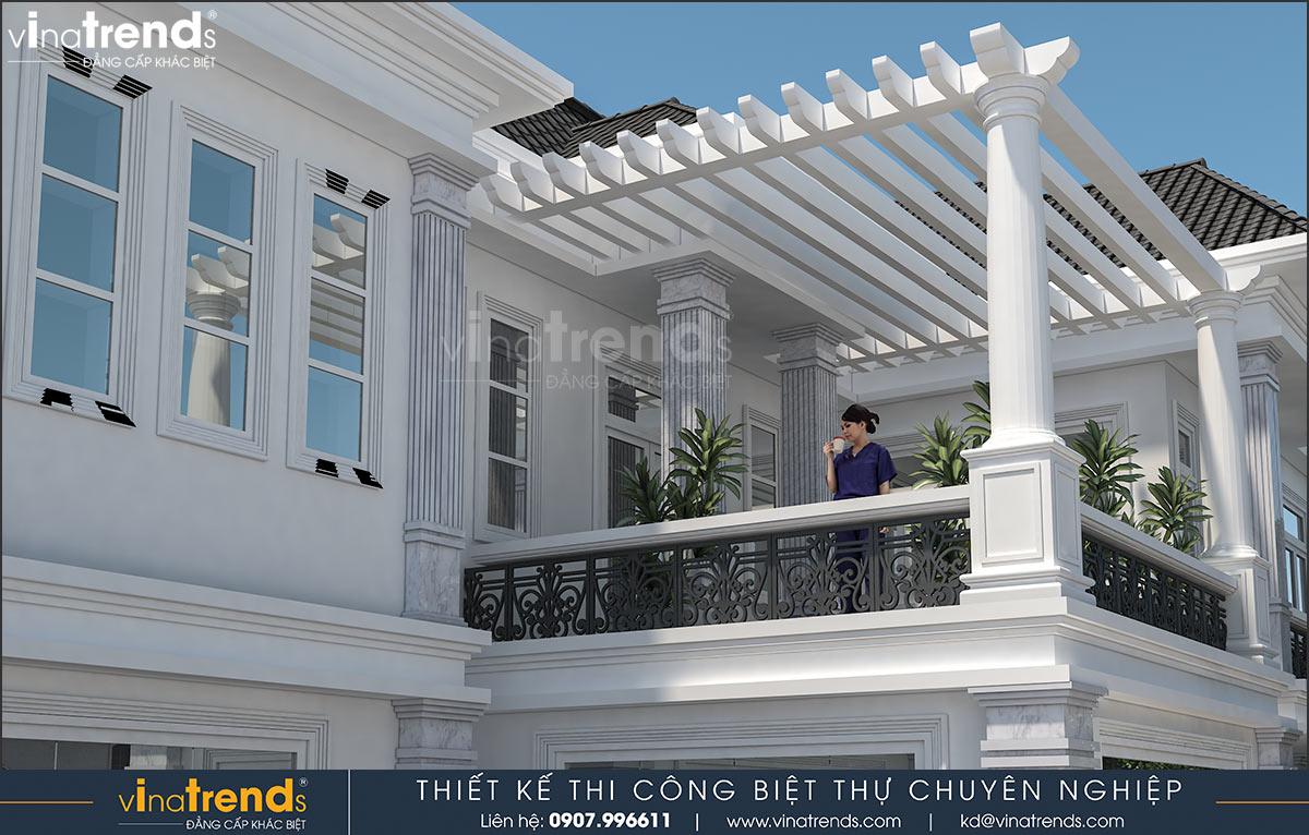 thiet ke ban cong mau nha biet thu 2 tang dep Mẫu nhà vườn biệt thự 2 tầng đơn giản 10x20,8m có 4 phòng ngủ ở Phan Thiết