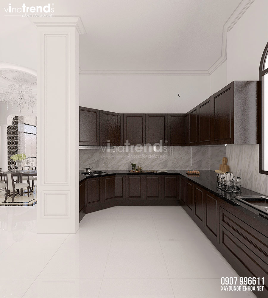 thiet ke nha bep Nội thất phòng khách + bếp + ăn của biệt thự 3 tầng tân cổ điển 12x24m ở Bình Dương