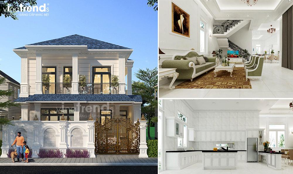 thiet ke noi that biet thu tan co dien nha ong ba duong vinatrends 1 Thiết kế nội thất mẫu biệt thự 2 tầng tân cổ điển tone trắng sang trọng ở Bửu Long