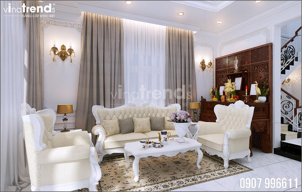 thiet ke noi that biet thu tan co dien nha ong ba duong vinatrends 11 Thiết kế nội thất mẫu biệt thự 2 tầng tân cổ điển tone trắng sang trọng ở Bửu Long