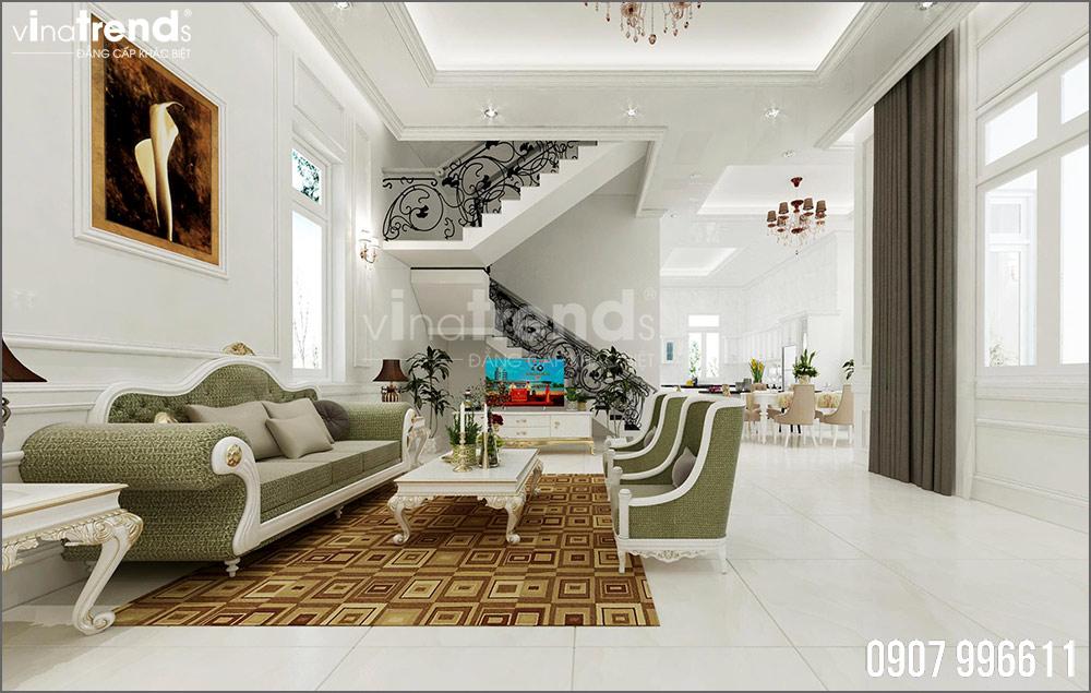 thiet ke noi that biet thu tan co dien nha ong ba duong vinatrends 2 Thiết kế nội thất mẫu biệt thự 2 tầng tân cổ điển tone trắng sang trọng ở Bửu Long