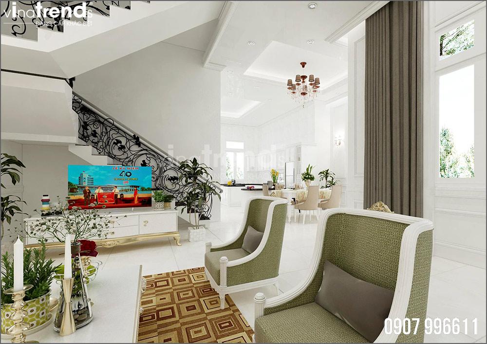 thiet ke noi that biet thu tan co dien nha ong ba duong vinatrends 3 Thiết kế nội thất mẫu biệt thự 2 tầng tân cổ điển tone trắng sang trọng ở Bửu Long