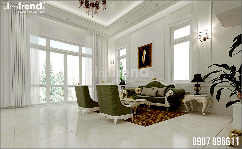thiet ke noi that biet thu tan co dien nha ong ba duong vinatrends 6 Thiết kế nội thất mẫu biệt thự 2 tầng tân cổ điển tone trắng sang trọng ở Bửu Long