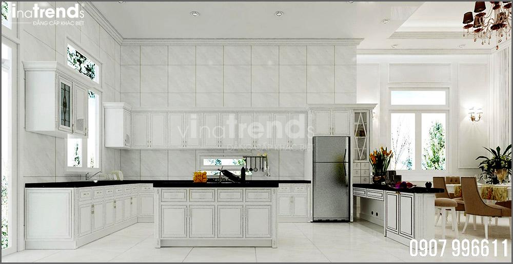 thiet ke noi that biet thu tan co dien nha ong ba duong vinatrends 8 Thiết kế nội thất mẫu biệt thự 2 tầng tân cổ điển tone trắng sang trọng ở Bửu Long