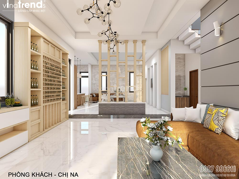 thiet ke noi that hien dai dep vinatrends 2 Mẫu biệt thự nhà vườn 2 tầng 12,5x18m ở Cam Ranh là điểm dừng của 1 resort mang tên Hạnh Phúc