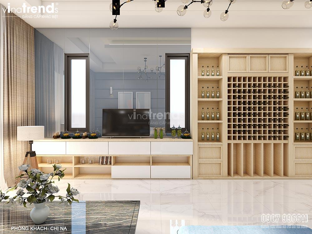 thiet ke noi that hien dai dep vinatrends Thiết kế nội thất gỗ công nghiệp hiện đại cho mẫu biệt thự 2 tầng ở Phan Thiết
