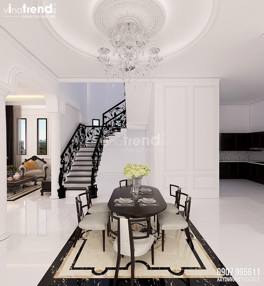 thiet ke noi that nha bep phong an Nội thất phòng khách + bếp + ăn của biệt thự 3 tầng tân cổ điển 12x24m ở Bình Dương