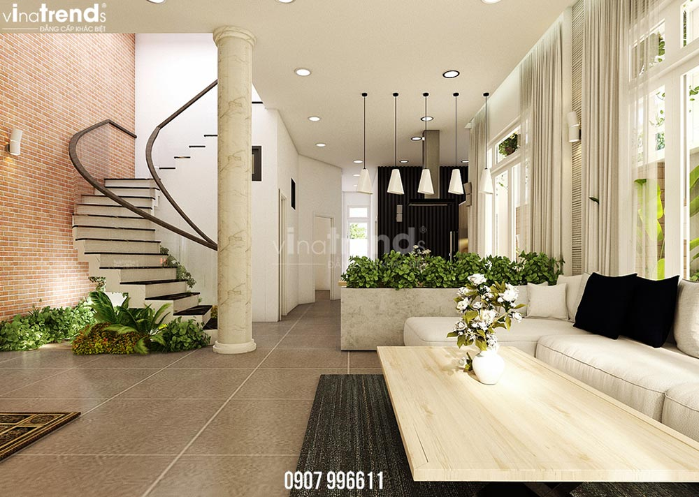 thiet ke noi that phong khach hien dai dep 1 Thiết kế nội thất biệt thự hiện đại 3 tầng 7,8x17m phủ toàn cây xanh ở Hồ Chí Minh