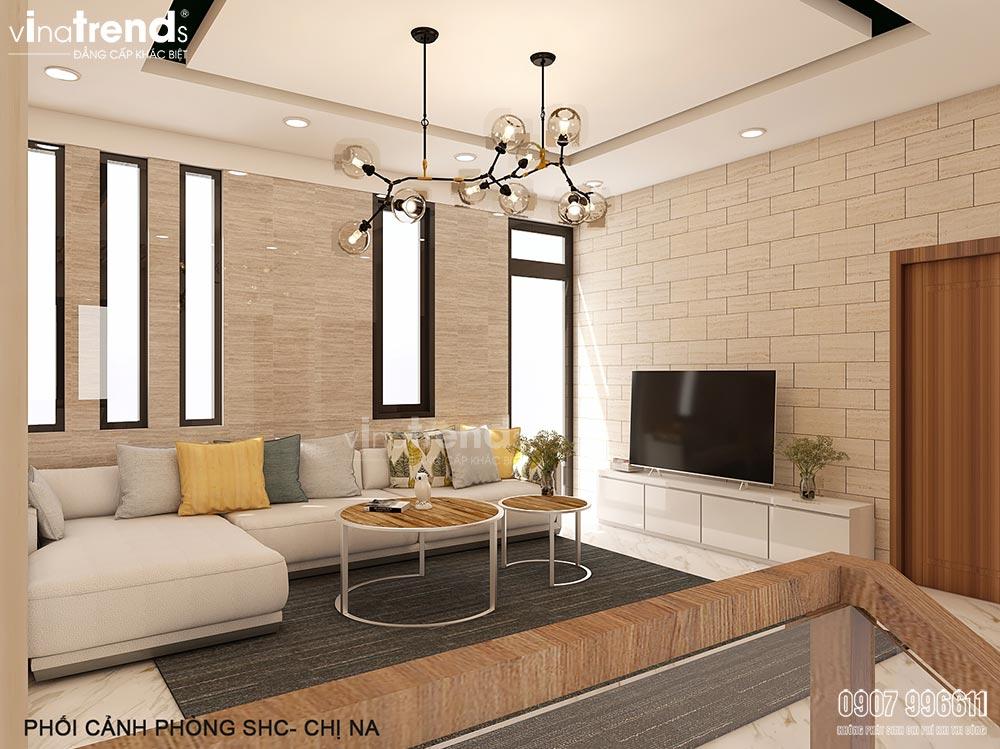 thiet ke noi that phong sinh hoat chung Thiết kế nội thất gỗ công nghiệp hiện đại cho mẫu biệt thự 2 tầng ở Phan Thiết