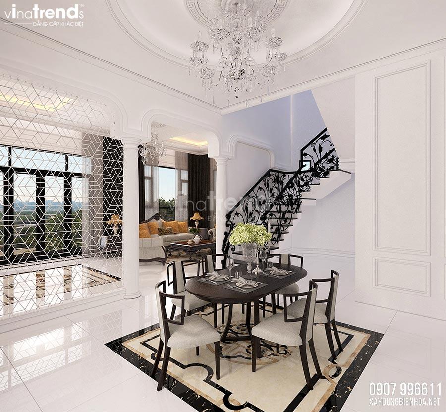 thiet ke phong an biet thu dep 1 Nội thất phòng khách + bếp + ăn của biệt thự 3 tầng tân cổ điển 12x24m ở Bình Dương