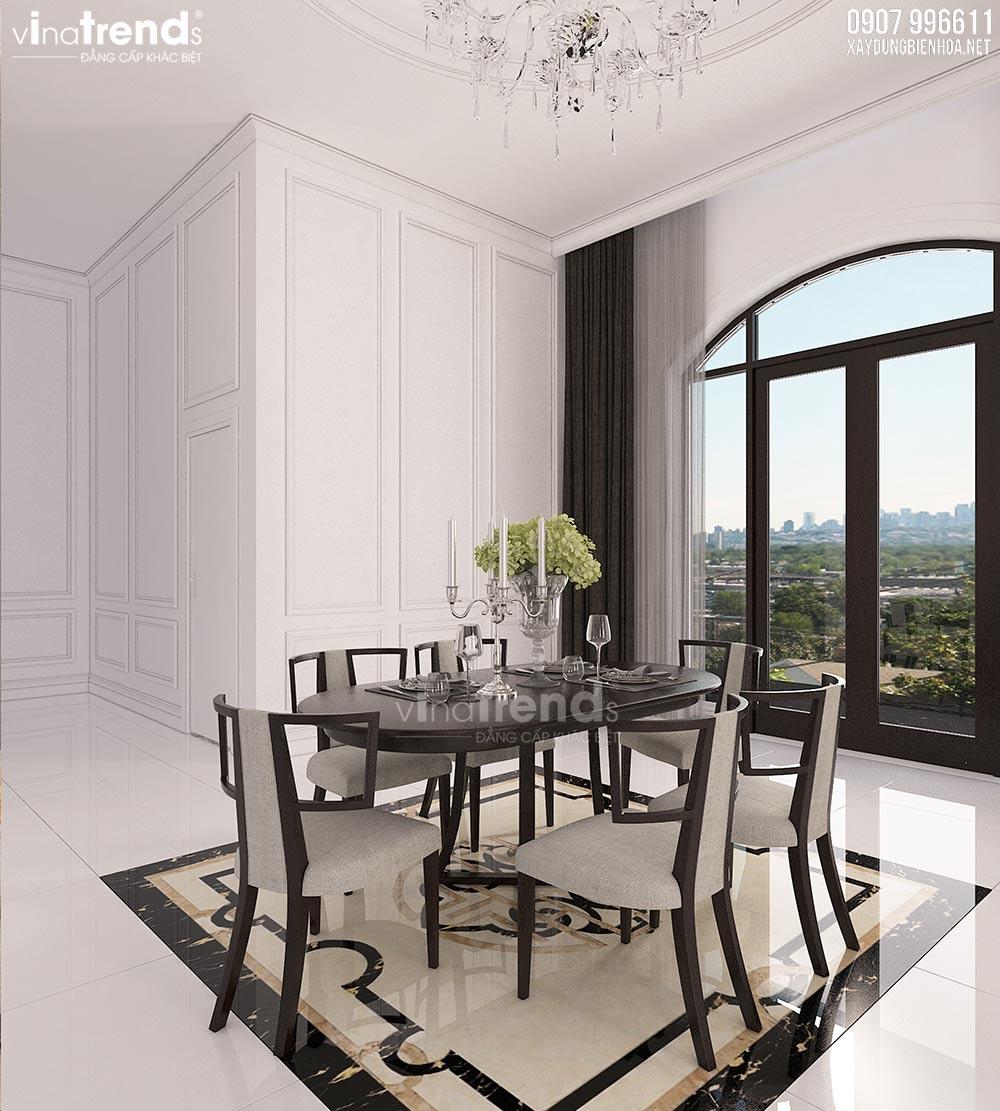 thiet ke phong an biet thu dep Nội thất phòng khách + bếp + ăn của biệt thự 3 tầng tân cổ điển 12x24m ở Bình Dương