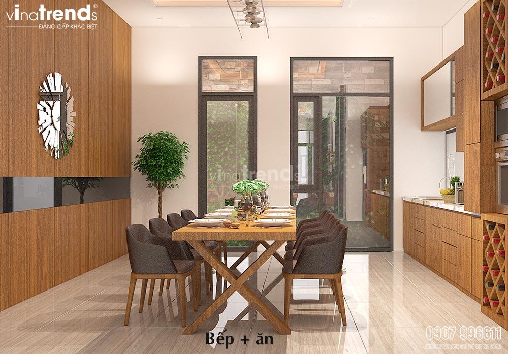 thiet ke phong bep go cong nghiep don gian Thiết kế nội thất gỗ công nghiệp cho biệt thự 3 tầng hiện đại ở Hồ Chí Minh