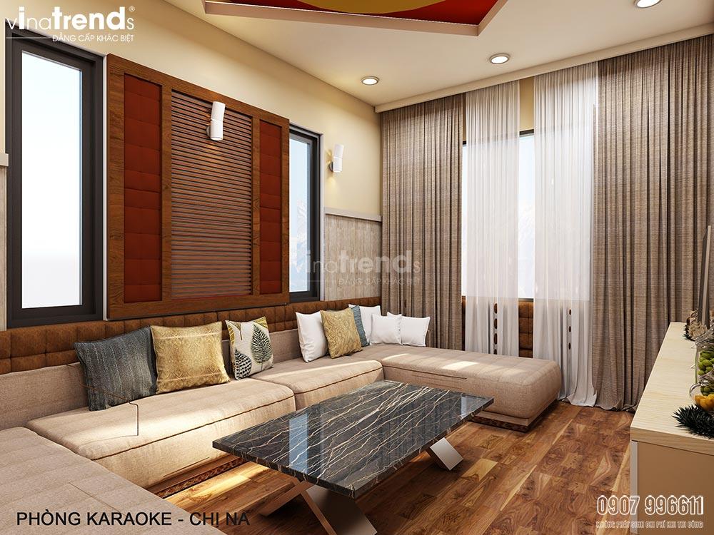 thiet ke phong karaoke Thiết kế nội thất gỗ công nghiệp hiện đại cho mẫu biệt thự 2 tầng ở Phan Thiết
