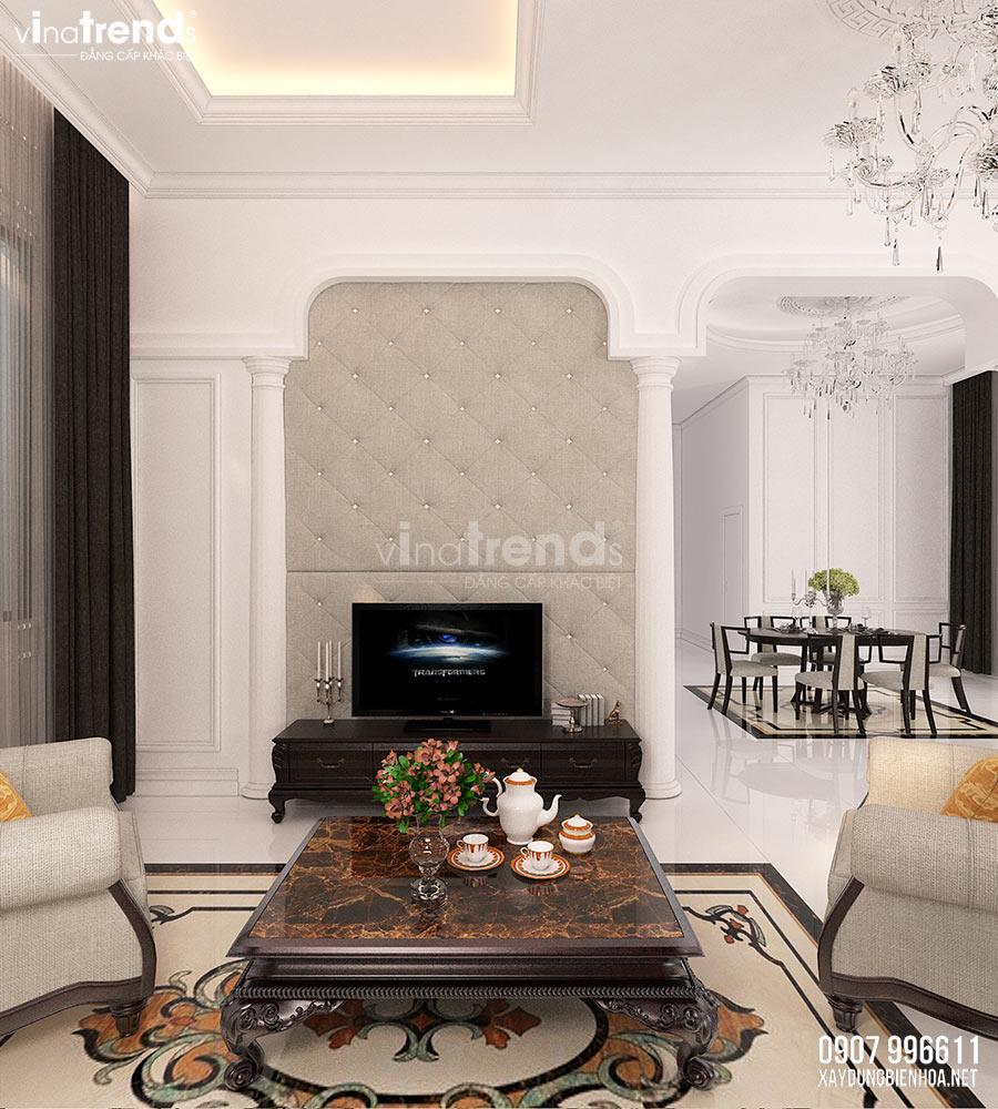 thiet ke phong khach dep tan co dien Nội thất phòng khách + bếp + ăn của biệt thự 3 tầng tân cổ điển 12x24m ở Bình Dương