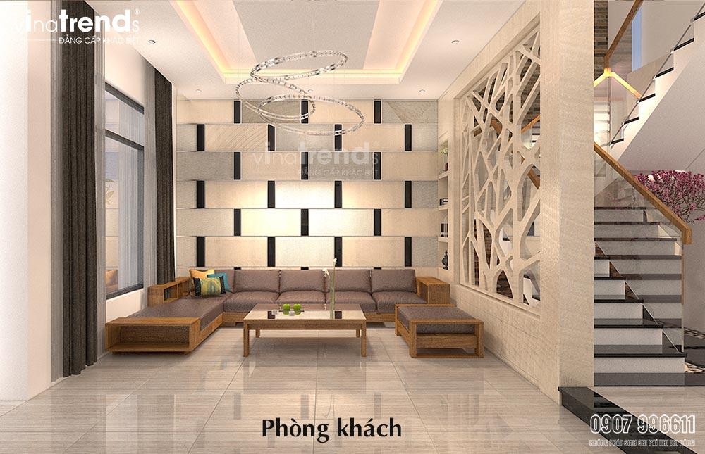 thiet ke phong khach hien dai go cong nghiep 1 Mẫu thiết kế phòng khách nhỏ hẹp nhà ống xinh xắn