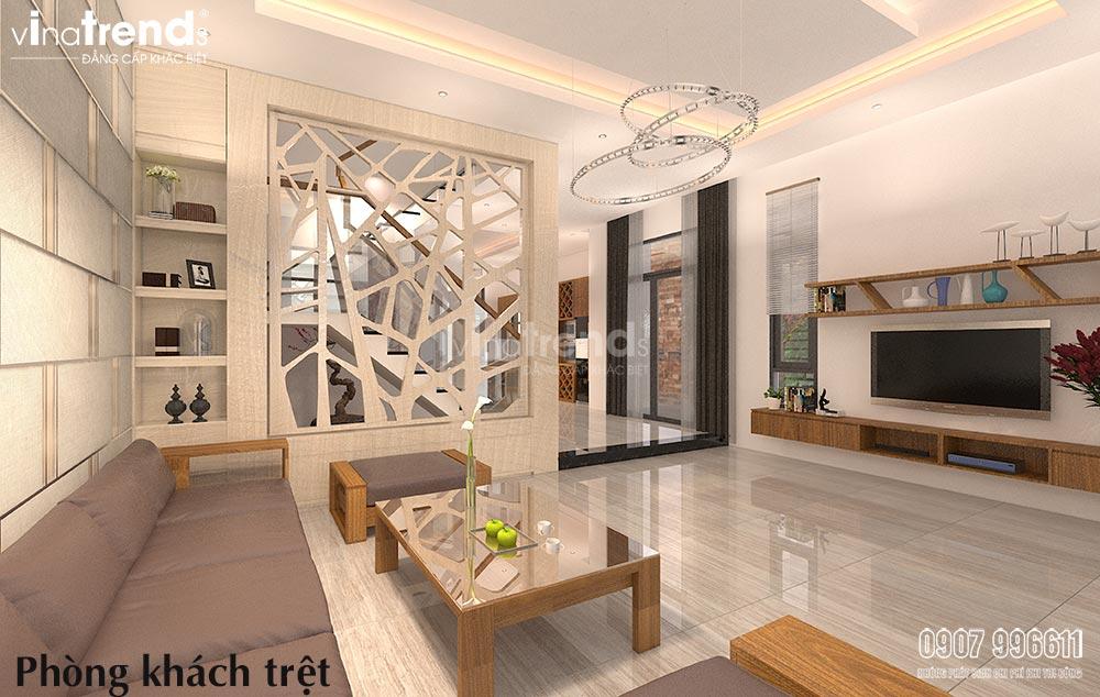 thiet ke phong khach hien dai go cong nghiep 2 Mẫu thiết kế phòng khách nhỏ hẹp nhà ống xinh xắn