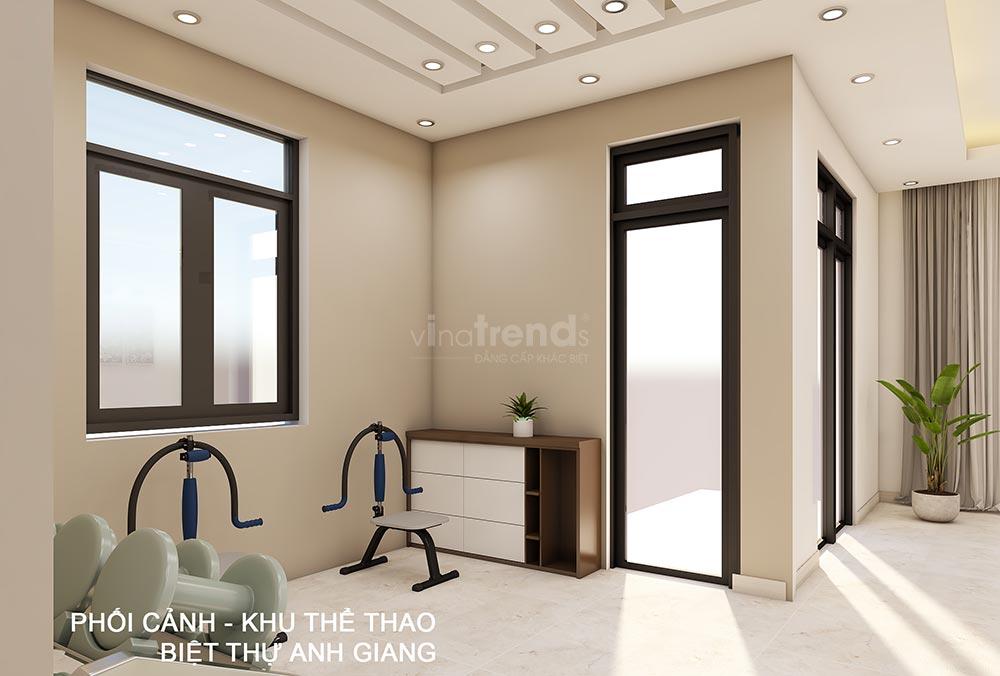 thiet ke phong tap the duc trong nha 1 Thiết kế nội thất gỗ công nghiệp cho biệt thự 3 tầng hiện đại ở Hồ Chí Minh