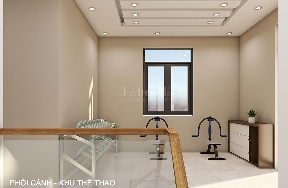 thiet ke phong tap the duc trong nha Thiết kế nội thất gỗ công nghiệp cho biệt thự 3 tầng hiện đại ở Hồ Chí Minh
