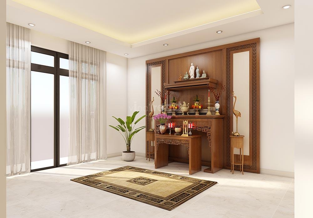 thiet ke phong tho Thiết kế nội thất gỗ công nghiệp cho biệt thự 3 tầng hiện đại ở Hồ Chí Minh