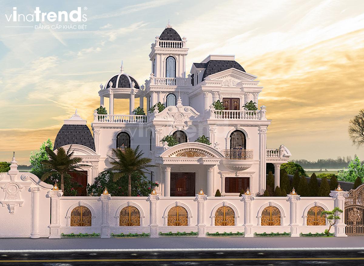 biet thu lau dai 3 tang kieu phap dep Mẫu nhà biệt thự 2 tầng kiểu Pháp 8x20m có sân vườn yên bình ở xứ sở công tử Bạc Liêu