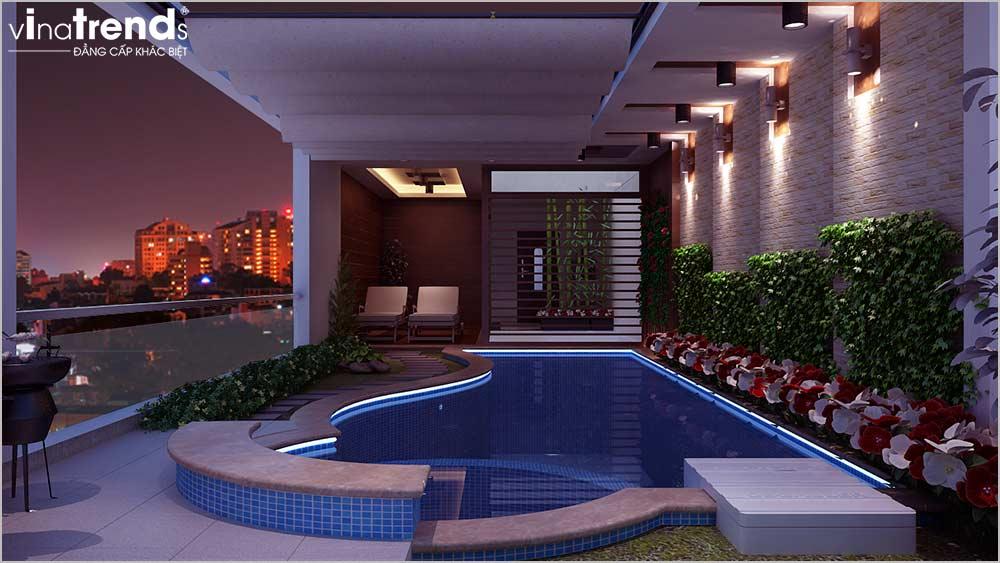 ho moi nha mat tien 5m 3 tang Mẫu nhà phố mặt tiền 5m 4 tầng dài 18m có hồ bơi đầu tư tới cùng của nhà anh Phước ở Sài Gòn
