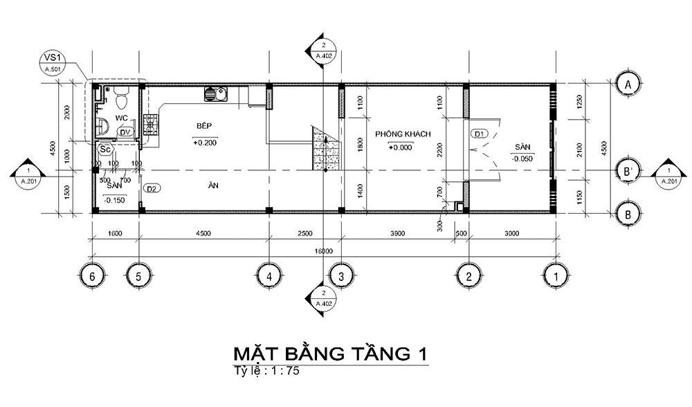 mat bang mau nha ong mat tien 45m 4 tang 1 Mẫu nhà ống mặt tiền 4,5m 4 tầng dài 16m tất cả các phòng điều rộng thoáng mát ở Quận 7