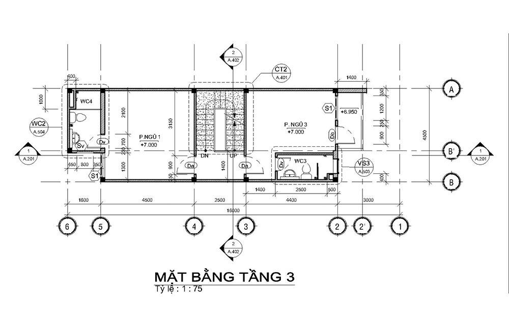 mat bang mau nha ong mat tien 45m 4 tang 3 Mẫu nhà ống mặt tiền 4,5m 4 tầng dài 16m tất cả các phòng điều rộng thoáng mát ở Quận 7