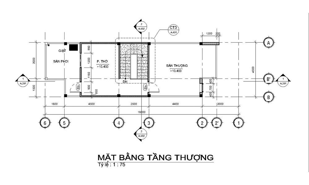 mat bang mau nha ong mat tien 45m 4 tang 4 Mẫu nhà ống mặt tiền 4,5m 4 tầng dài 16m tất cả các phòng điều rộng thoáng mát ở Quận 7