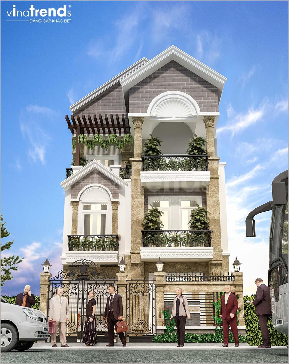 mau nha 3 tang mai thai mat tien 8m dep nhat 2 Mẫu nhà 3 tầng mặt tiền 8x20m mái thái khang trang như một khách sạn ở Quận 1 Sài Gòn