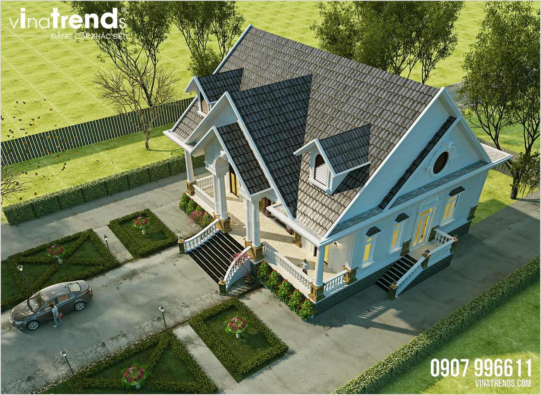 mau nha biet thu 1 tang dep nhat Đây là mẫu nhà biệt thự 1 tầng mái thái châu Âu 3 phòng ngủ 15,4x18,2m ở Quảng Nam có sân vườn rộng nhiều gia đình mơ ước