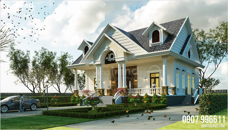 mau nha biet thu 1 tang mai thai dep nhat Đây là mẫu nhà biệt thự 1 tầng mái thái châu Âu 3 phòng ngủ 15,4x18,2m ở Quảng Nam có sân vườn rộng nhiều gia đình mơ ước