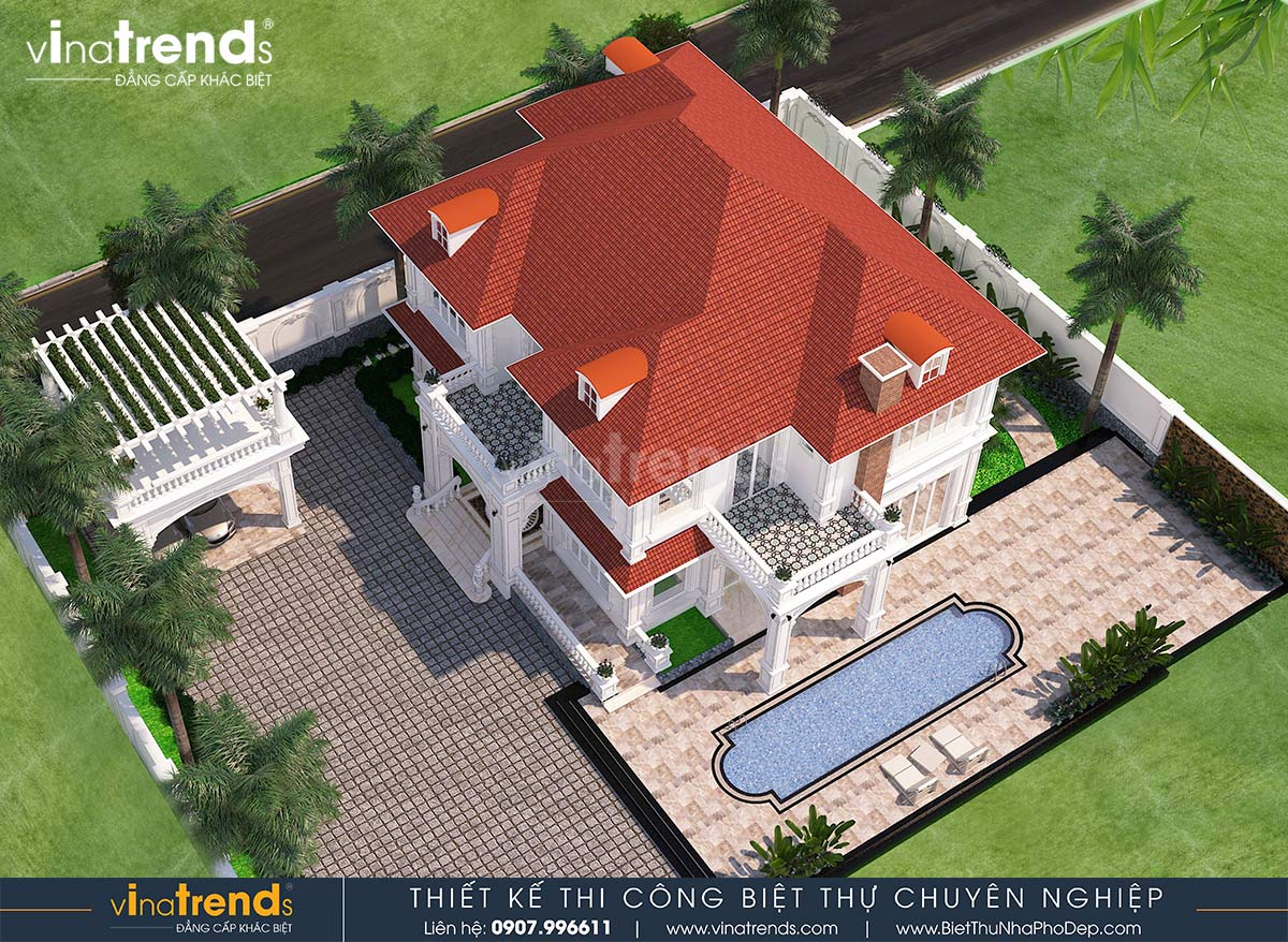 mau nha biet thu 2 tang kieu phap co san vuon dep nhat 3 Mẫu biệt thự đẹp 2 tầng sân vườn rộng hơn 2000m2 của đại gia vạn người nể ở Bình Phước